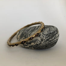 Load image into Gallery viewer, Bronze Bangle Bracelet with peacock pearls