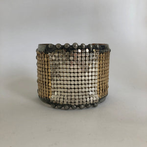 Brass cuff with Silver and gold plated mesh