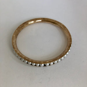 Bronze Bangle Bracelet with pearls