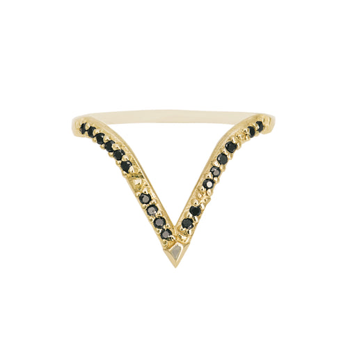 """Peak"" Deep ""V"" studded ring"