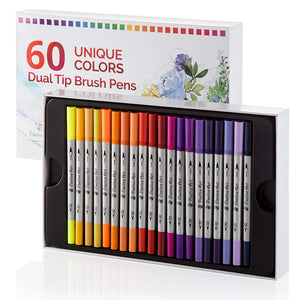 Dual Tip Brush Pens 60 Unique Colors By Positive Art