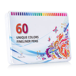 Positive Art Fineliner Coloring Pen Set 60 Unique Colors with Metal Case