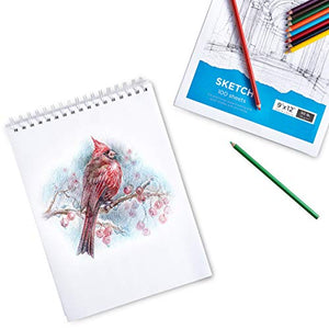"Sketch Book, 9x12"" Artist Sketchbook, 2 Pack 200 Sheets"