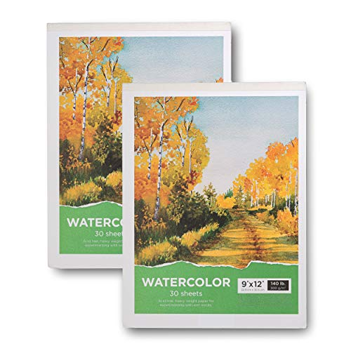 "Watercolor Pad, 9x12"" - 2-Pack, 60 Sheets, 140 Lb / 300"