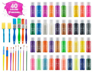 Washable Non-Toxic Colorful Paints & 15 Brushes Neon