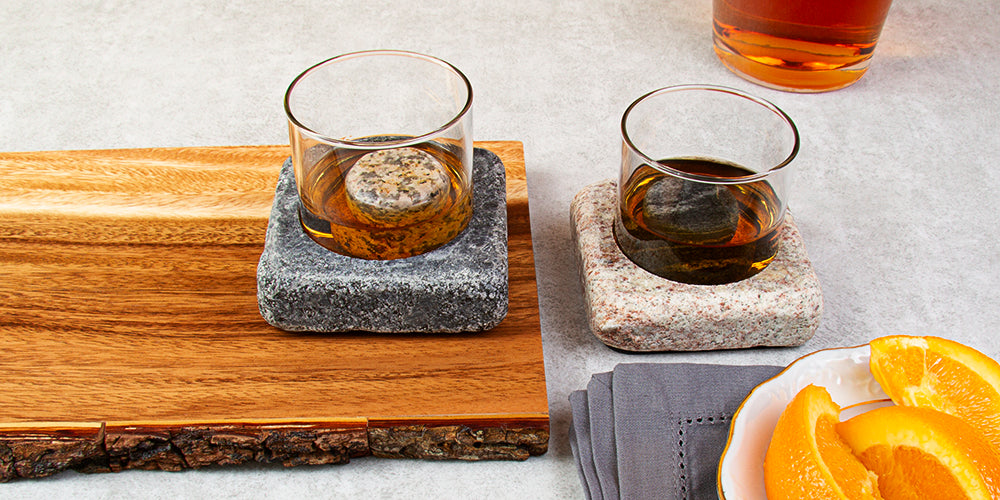 Cool Coasters Granite Coasters with Chilling Stones Set
