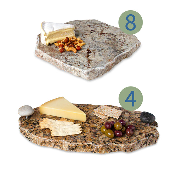 Foodie Set includes: 8 Chiseled Edge Granite Lazy Susans and 4 Chillable Serving Trays with Lazy Susans