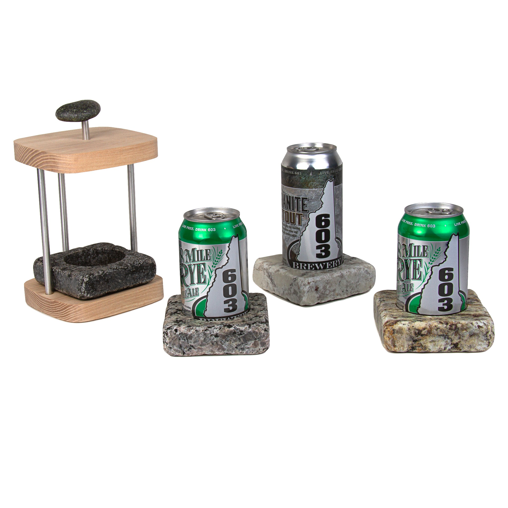 Can Chilling Coaster Set with Hardwood Caddy – Sea Stones