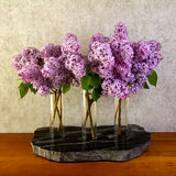 Triple Bud Vase in Black with Lilac