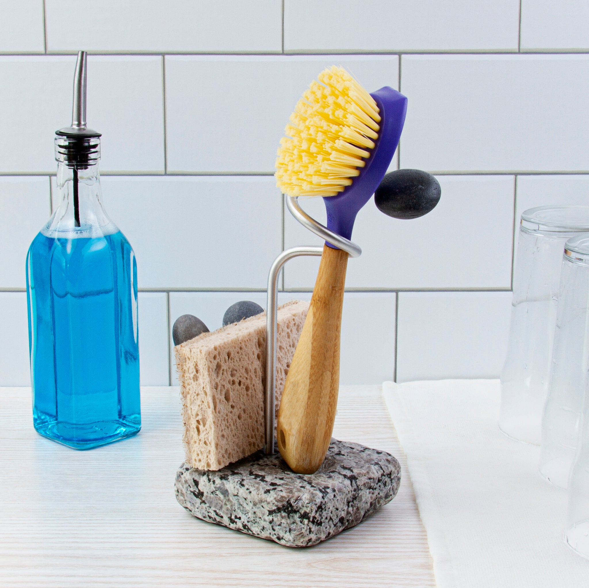 Embrace Dish Brush and Sponge Holder with Dishes