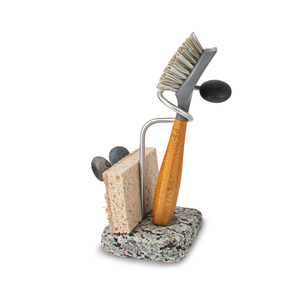 Embrace Dish Brush and Sponge Holder with Cast Iron Brush and Sponge