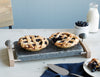 Sea Stone Oven-to-Table Serving Platter Hot & Cold Granite Serving Platter with Hardwood Caddy with a Blueberry Pie