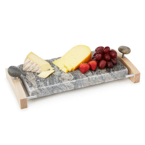 Sea Stone Oven-to-Table Serving Platter Hot & Cold Granite Serving Platter with Hardwood Caddy with Fruit and Cheese