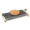 Sea Stone Oven-to-Table Serving Platter Hot & Cold Granite Serving Platter with Hardwood Caddy with a Pie