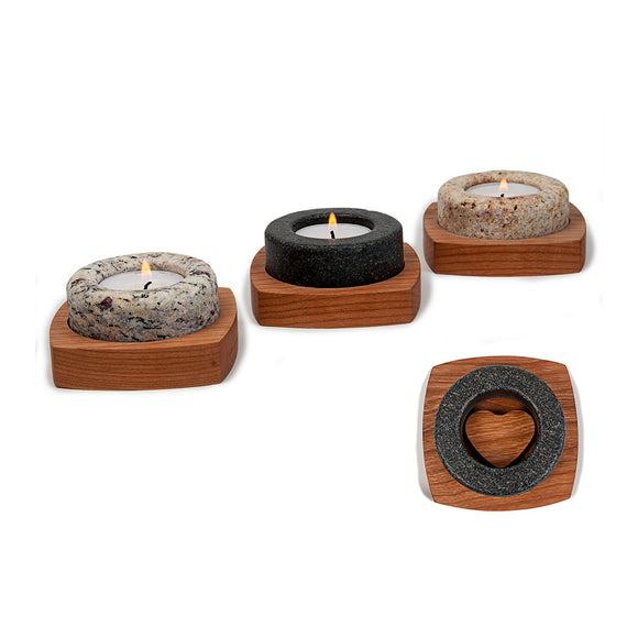 Heartstone Granite and Cherry Tea Light Holder