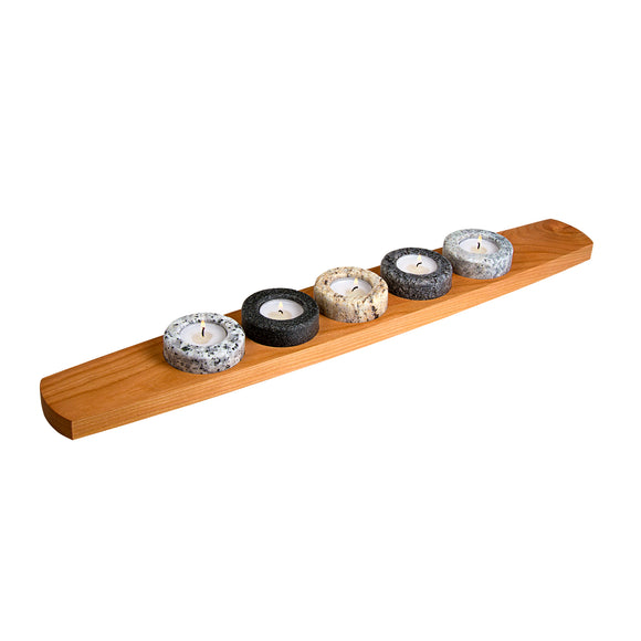 Harmony Granite and Cherry Tea Light Holder