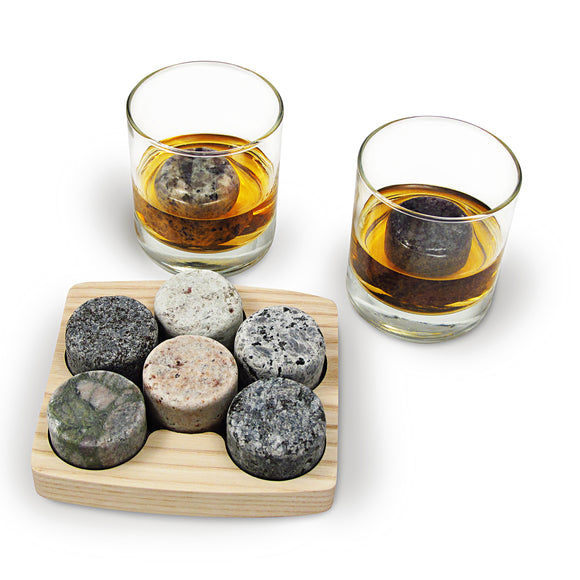 On The Rocks Granite Whiskey Chilling Stones with Hardwood Tray and Tumblers