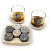 On The Rocks Granite Whiskey Stones Round Hardwood Tray Ash Glasses Tumblers Bourbon