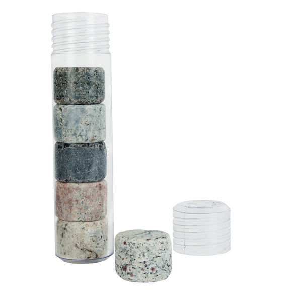 On The Rocks Granite Whiskey Stones Round Plastic Tube
