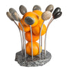 Splash Bowl Granite Aluminum Stone Fruit Bowl with Oranges