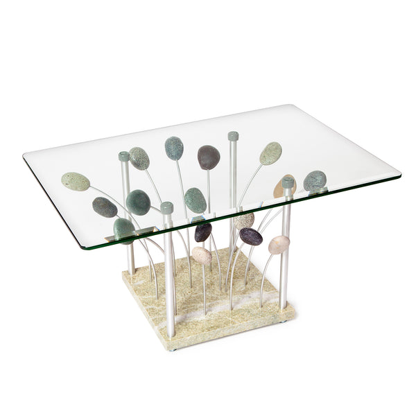 Sea Grass Coffee Table Stone Granite Aluminum Glass Table