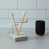 Encircle Granite Toothbrush Holder with Toothbrushes in Bathroom