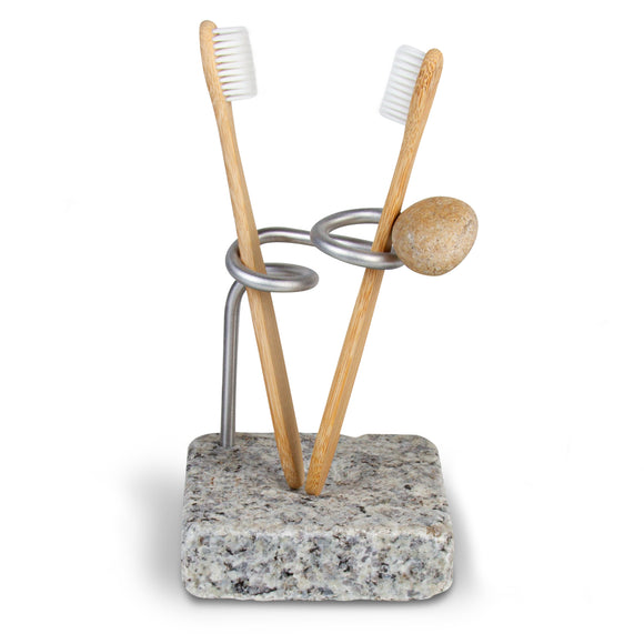 Encircle Granite Toothbrush Holder with Toothbrushes