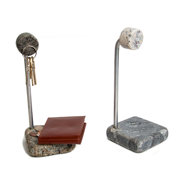 Tabletop Key Holder Granite Stone Aluminum with Keys and Wallet