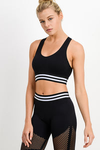 Black and White Sporty Striped Sports Bra