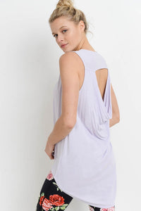 Lavender Girl Draped Back Longline Top