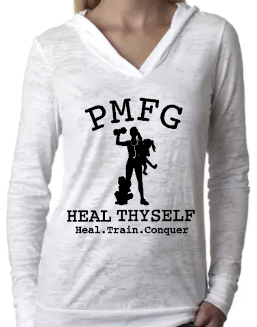 PMFG Heal Thyself Heal Train Conquer (Straight Hair) - Burnout Hoodie