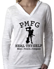 PMFG Heal Thyself Heal Train Conquer (Curly Hair) - Burnout Hoodie