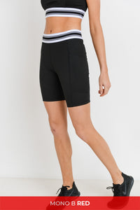 Black and White Striped Sporty Bike Shorts