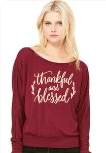 Thankful and Blessed- Flowy Off Shoulder