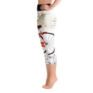 Vintage Bicycle Yoga Capri Leggings