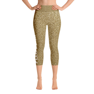 Pelo PMG Gold Glitter Yoga Capri Leggings