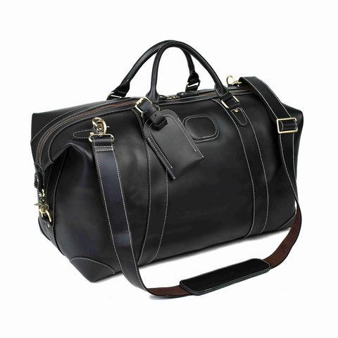 Leather Duffle Bag Black/Brown/Vintage