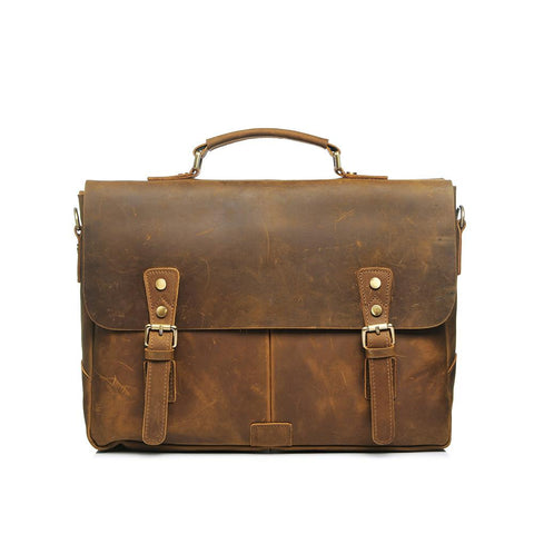 Rugged Leather Briefcase - July Wind