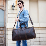 Dark Vintage Leather Duffle Bag with Shoe Compartment