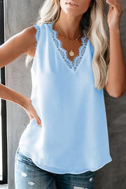 VOKJJ Summer V-NECK Eyelash Lace Sleeveless Top