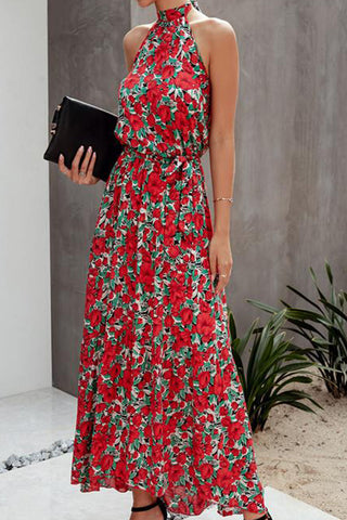 VOKJJ Summer Floral Print Sleeveless Halterneck Dress