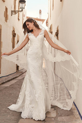 Lace Embroidered Mermaid Wedding Dress