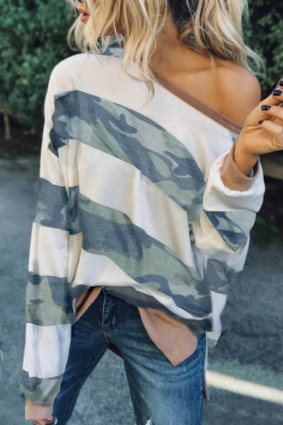 VOKJJ Loose Camouflage Striped Long Sleeve Sweatshirt - Hellosuitlady