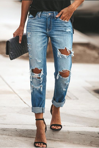 Fashion Broken Holes Boyfriend Jean