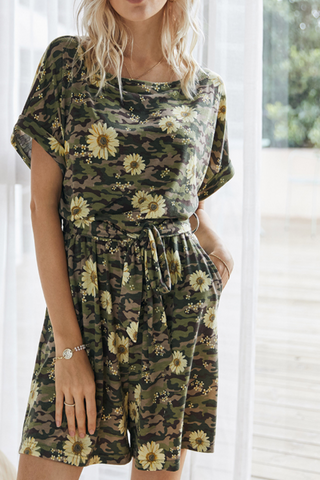 VOKJJ Summer Floral Print Jumpsuits in Camouflage Style