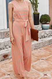 VOKJJ Summer Casual Stripe Jumpsuits with Fabric Belt