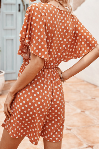 VOKJJ Summer Casual V-neckline Ruffle Sleeve Jumpsuit in Dotted Print