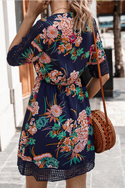 VOKJJ Summer Floral Print V-neckline Lady Dress in Half Sleeve