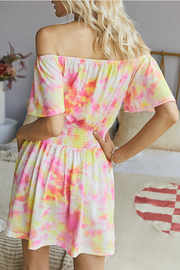 VOKJJ Summer Fashion Multi-color Dyed Off-shoulder Dress with Ruffle Sleeve