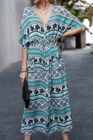VOKJJ Summer Fashion Floral Print Long Dress in Bohemian Style